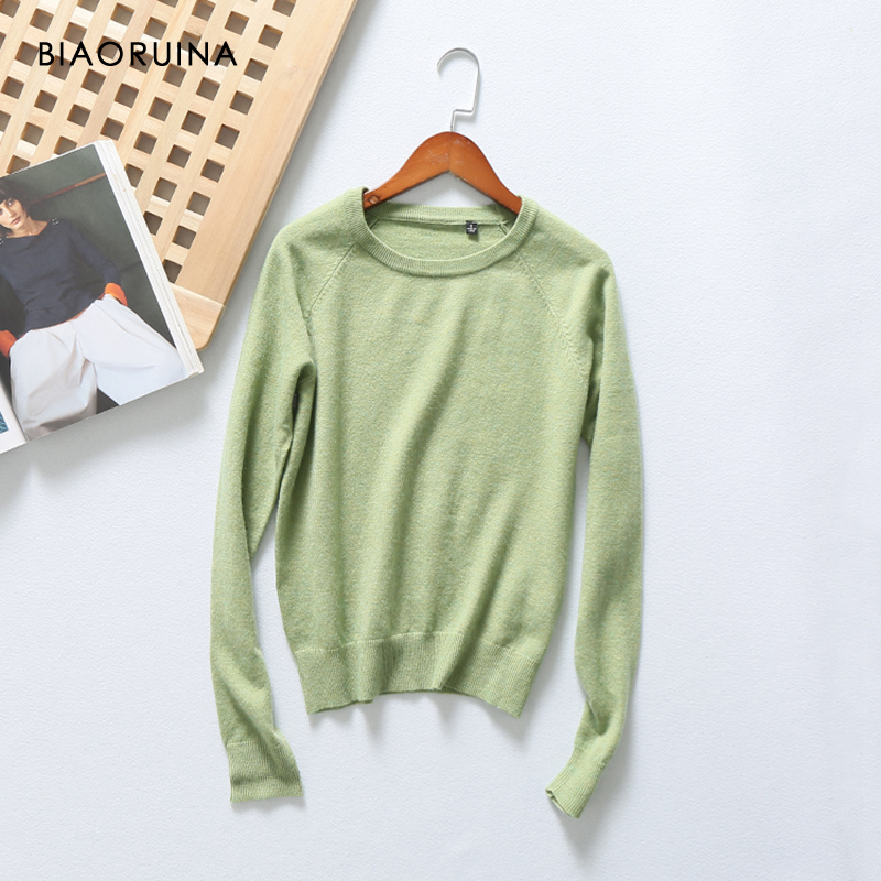 BIAORUINA 12 Colors Women's Casual Comfortable Basic Knit Sweater O-neck Female All-match Cotton Cashmere Blends Pullovers