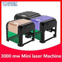 Graveur Laser à revêtement logo bricolage, 3000 mw, Machine de gravure Laser sur bois, gamme de gravure 3 W, 80x80mm