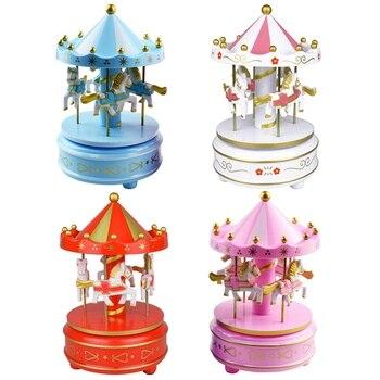 Merry Go Round Music Box Geometric Music Baby Room Decoration Gifts Unisex Christmas Horse Carousel Box Birthday Gift