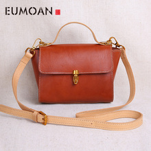 EUMOAN Handmade leather womens bags, mini vintage shoulder stiletto handbags