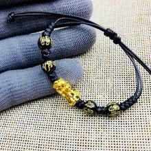 Unissex feng shui obsidian pedra grânulos pulseira corda ouro pixiu riqueza saúde rica boa sorte pulseira para mulher