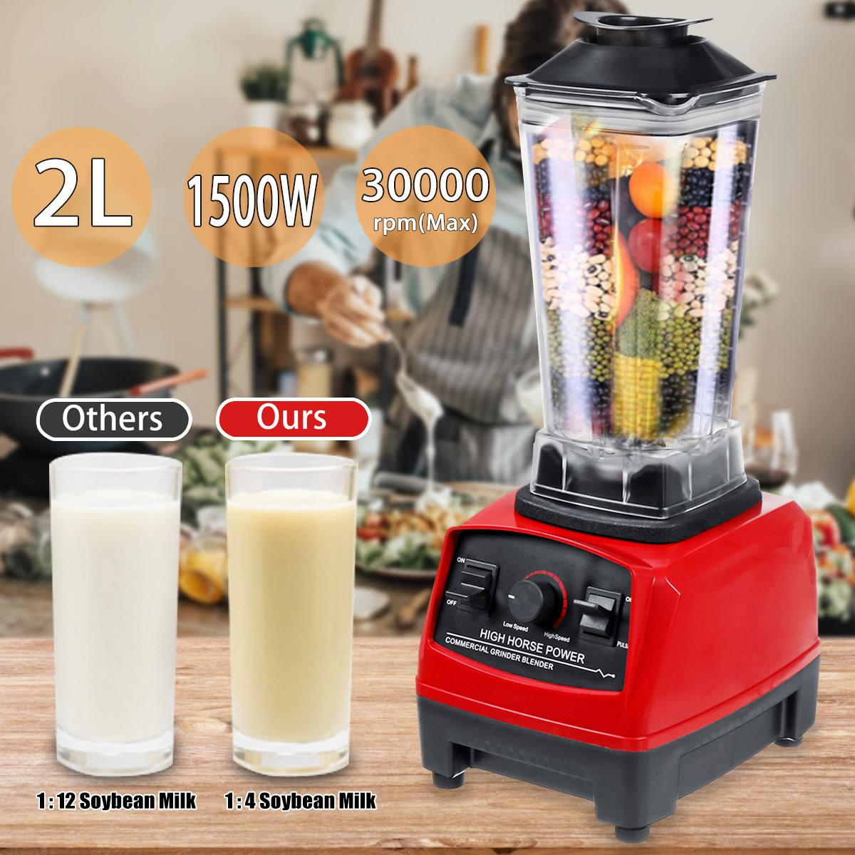 2L 1500W Heavy Duty Commercial Grade Blenders Mixer Juicer High Power Food Processor Ice Smoothie Bar Fruit Blenders Adjustable