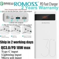 Romoss 30000mah Power Bank 30000 PD Powerbank QC 3.0 18W 12V for Samsung S9 Xiaomi Mi9 Nexus 6P Macbook External Battery