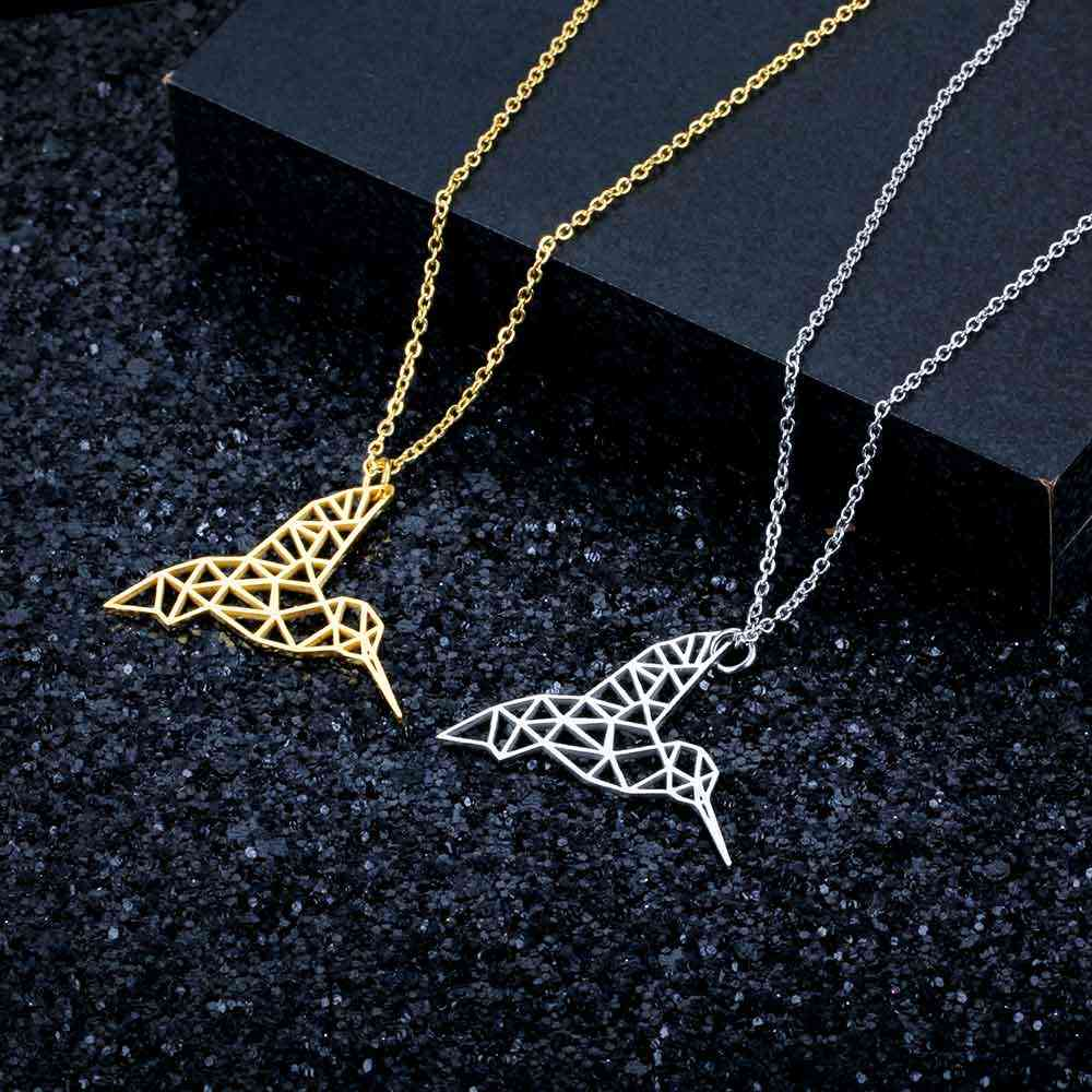 100% Real Stainless Steel Hollow Hummingbird Necklace Fashion Animal Pendant Necklaces Italy Design Amazing Design