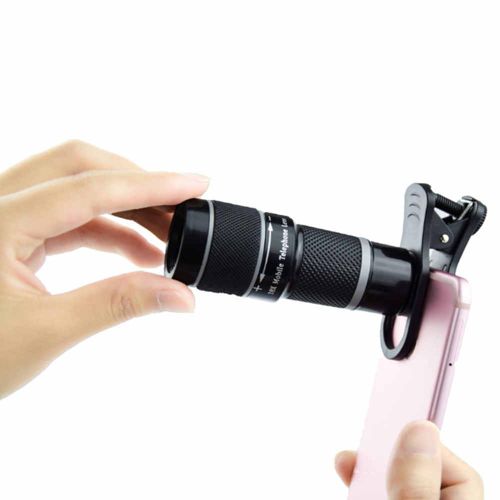 Universel 18X lentille optique Zoom externe Smartphone télescope avec pince téléphone portable monoculaire pour iPhone6 Samsung Huawei Xiaomi