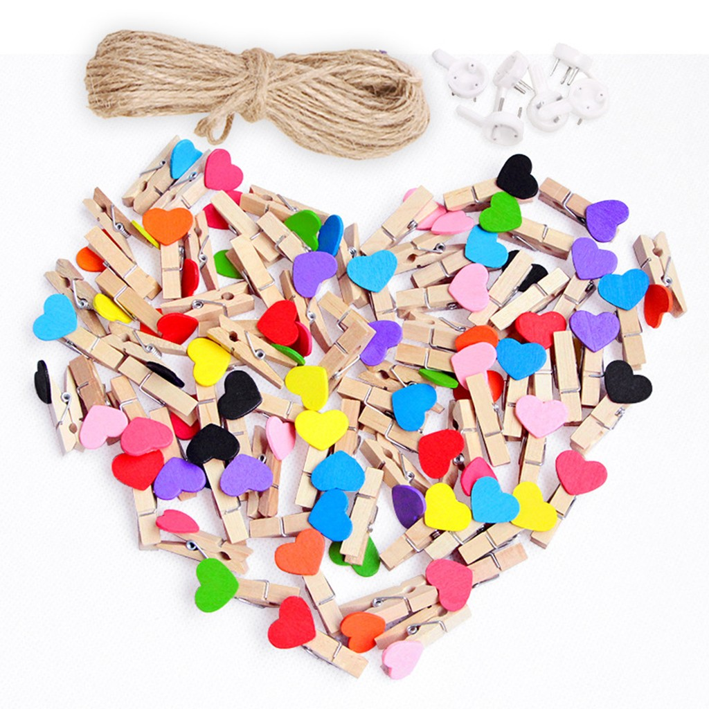 50pcs Picture Hanger Love Heart Small Wooden Clothespin Craft Clips DIY Photo Cards Peg Colgar Fotos крючки для картин 20