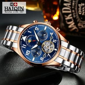 Image 3 - HAIQIN Mechanical Mens watches top brand luxury watch men Business Military wristwatch men Tourbillon Fashion 2019 reloj hombres