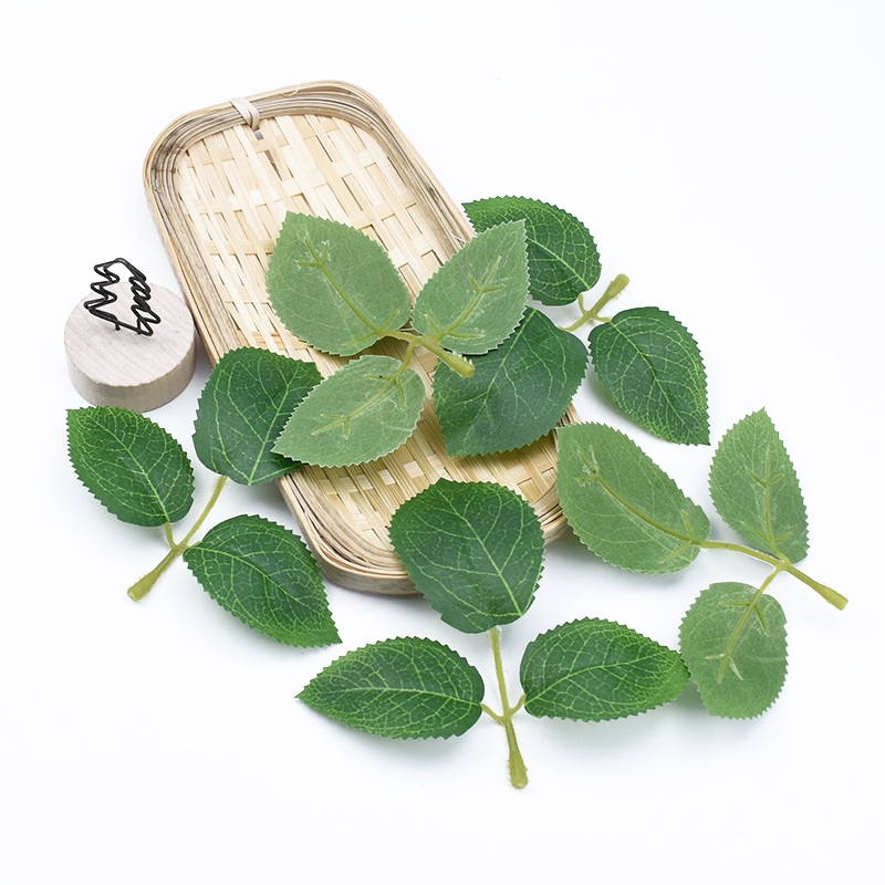 20 Pieces Green Roses Leaves Fake Leaf Artificial Plants Decorative Flowers Wreaths Diy Gifts Bridal Brooch Wedding Home Decor