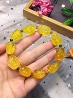 Natural Yellow Amber Gemstone Beads Bracelet 17x12mm Pi Xiu Carved Women Men Stretch Reiki Jewelry Amber Certificate AAAAA