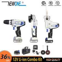 NEWONE 12V Electric Power Tool Li ion Cordless Angle Grinder Reciprocating Saw Drill Combo kit set with Battery for cutting