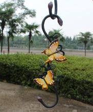 2pcs 28.5*4*21.5cm  Cast Iron Painted S-Shaped Butterfly Hook Wrought Iron Multi-Purpose Hook Hook Basket Flower Pot Hook cs 12 24 in s hook s hook not include pot