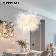BOTIMI Romantic LED Pendant Lights Organza Lampshade For Dining Room Bar Hanging Lamp Restaurant Decoration Girls Bedroom Lamps botimi colorful pendant lights for dining nordic led pendant lamp with lampshade single e27 bar light indoor hanging lamps
