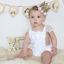 Fee Baby Meisjes Kant Gelaagde Bodysuit Baby Baby Meisjes Bloem Jumpsuit Wit Angel Bloemen Cake Backless Sunsuit Outfits(China)