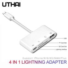 UTHAI B16 Мультиадаптер Lightning кард-ридер для SD TF Micro USB HDMI 3,5 аудио адаптер для iPhone 7 8 X XR XS MAX PLUS зарядка