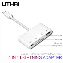 UTHAI B16 Multi Adapter Lightning Card Reader to SD TF CF Micro USB HDMI 3.5Audio Converter For iPhone 7 8 11 X XR Plus Charging(China)