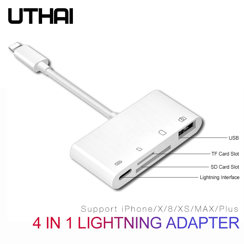 Uthai B16 Multi Adapter Lightning Kaartlezer Sd Tf Cf Micro Usb Hdmi 3.5Audio Converter Voor Iphone 7 8 11 X Xr Plus Opladen