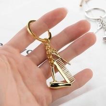 Key Chain Car Ornament Accessories Cosmetologist Hair Dresser Silver Keychain Ha