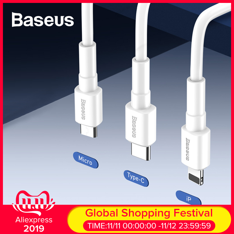 Baseus 3A Fast Charge USB Cable For IPhone Micro Type-C Devices Data Cable Quick Charging Cable Wire For Huawei Xiaomi Samsung