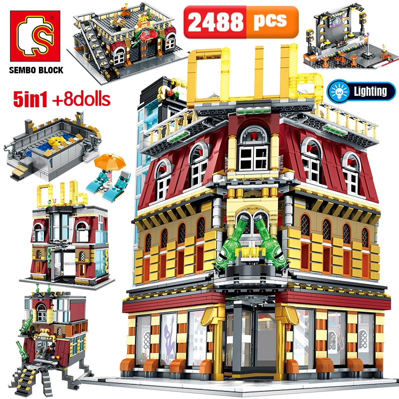 SEMBO 5-in-1 USB Light Nightclub House Building Blocks City Street View Series Figures Bricks Education Toys For Kid