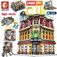 SEMBO 5 in 1 USB Light Nightclub House Building Blocks for Legoing City Street View Series Figures Bricks Education Toys for Kid