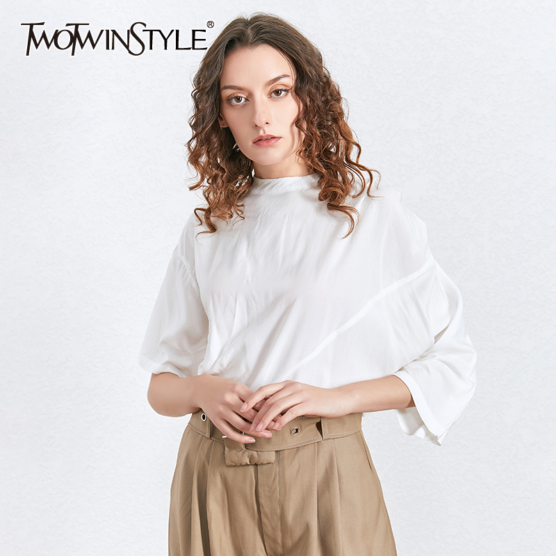 TWOTWINSTYLE Korean White Ruched Shirt For Women Turtleneck Short Sleeve Oversized Casual Shirts Blouse Female 2020 Summer New