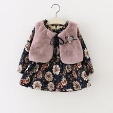 Baby Dress 2019 Autumn Winter Baby Print Dress+Fur Vest 2pcs