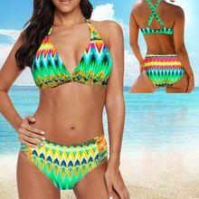 Womens Plus Size 8XL Swimwear Boho Rainbow Wavy Stripes Print 2 Piece Bikini Set 11UE women's swimming suit