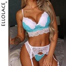 Ellolace conjunto de lingerie feminina sexy sutiã breve conjuntos de renda roupa interior 3 peça conjunto sensual lingerie feminina 2021