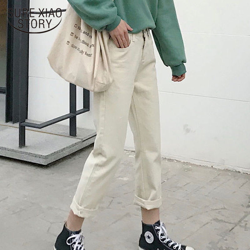 2019 New Loose High Waist Suit Work Straight Harem Pants Beige Pants Women Fall and Winter Trousers Women Female Capris 7860 50