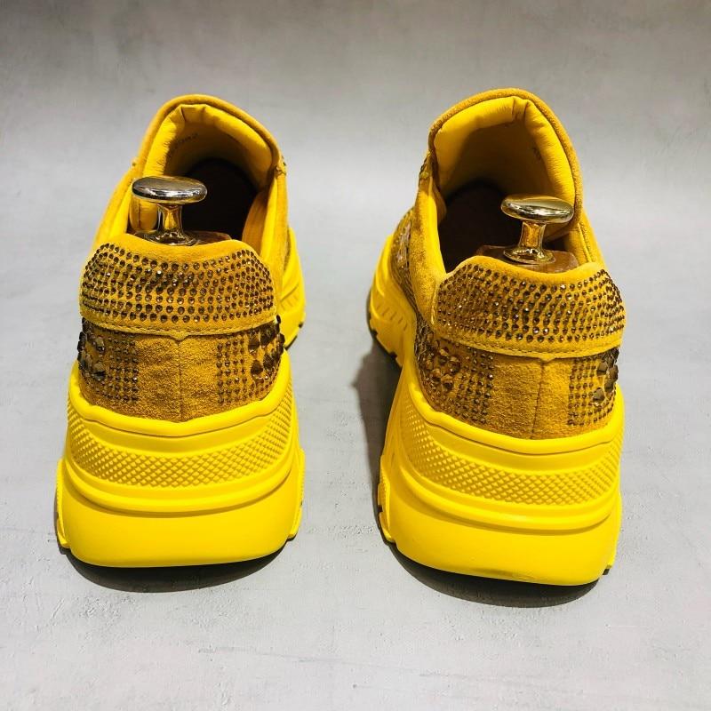 Mode hommes cristal clouté chaussures décontractées 2019 plate forme épaisse baskets haute rue Joggers formateurs à lacets chaussures en cuir brillant - 2