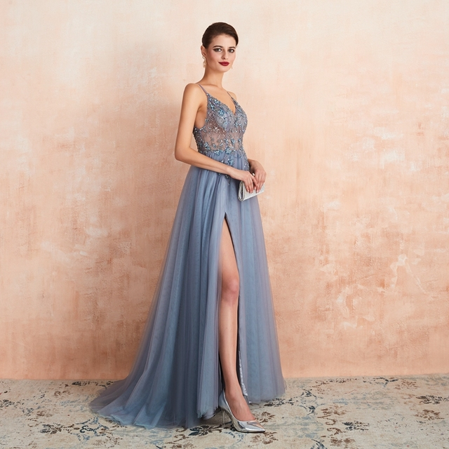 Pink Beaded Prom Dresses Plus Size 2021 Long Elegant See Through A Line Split Tulle V Neck Spaghetti Strap Evening Gown 6