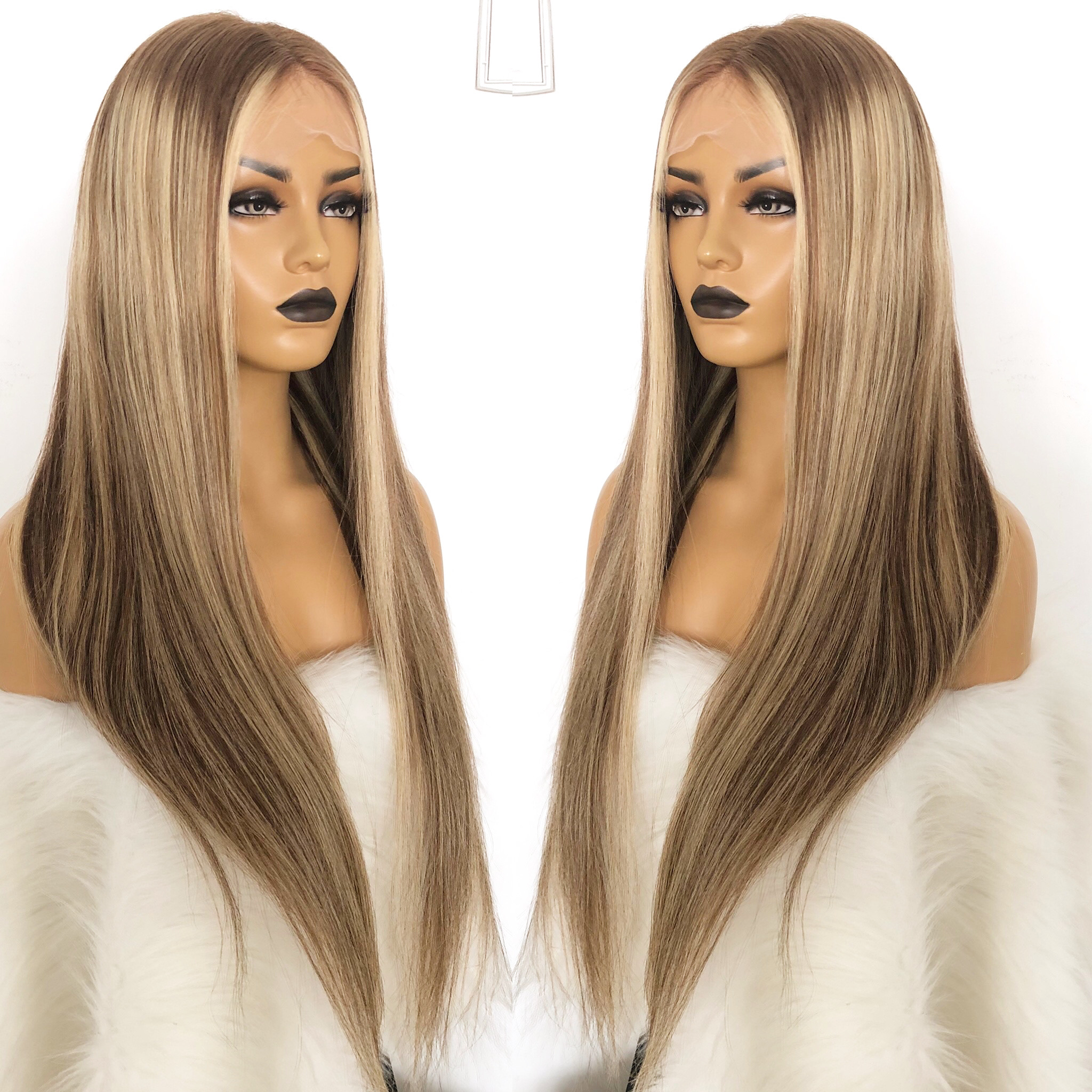 QueenKing hair Full European Remy Human hair Lace Wig 150% Density CAMI Color T7/7/24 Ombre Color Wigs for women