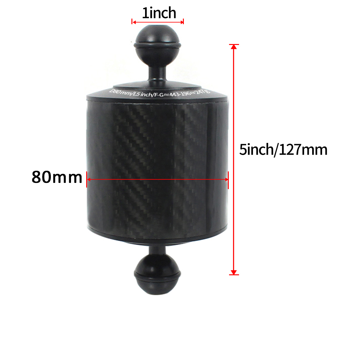 Carbon Fiber Extension Tray Arm Float Buoyancy Aquatic Arm Dual Ball SLR Camera Diving for Gopro yi EKEN for DJI for OSMO Action 11