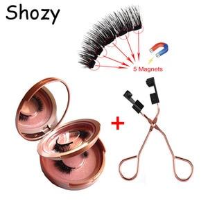 Shozy 2 pairs/ 8 pcs magnetic eyelashes with 5 magnets handmade 3D false eyelashes with quantum magnetic eyelashes tweezer