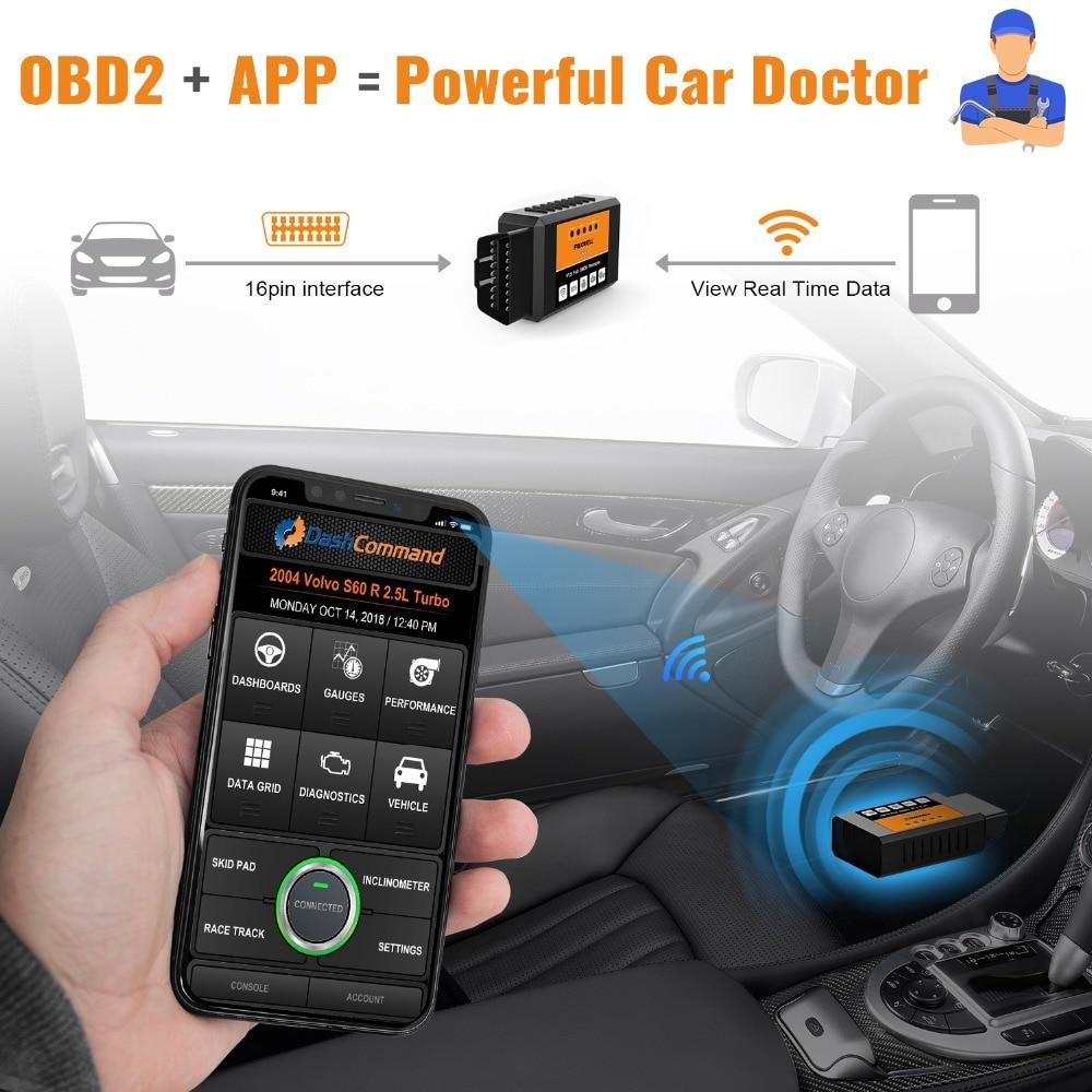 Hb068ebd42fd94bbd9384b1a7055c29cct FOXWELL FW601 Universal OBD2 WIFI ELM327 V 1.5 Scanner for iPhone IOS Auto OBDII Scan Tool OBD 2 Code Reader V1.5 WI-FI ODB2