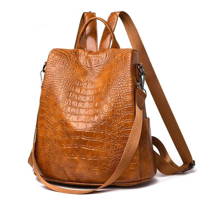 2019 Women Alligator Leather Backpacks High Quality Sac A Dos Luxury Designer Female Backpack School Bags For Girls Mochilas
