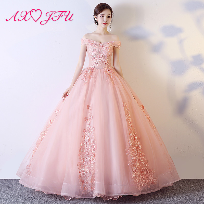 AXJFU luxury princess pink lace   evening     dress   vintage boat neck illusion rose flower lace host stage pink bride   evening     dress