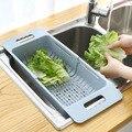 調整可能な水切りシンク排水バスケット洗濯野菜果物プラスチック乾燥ラックキッチンアクセサリーオーガナイザー H1235