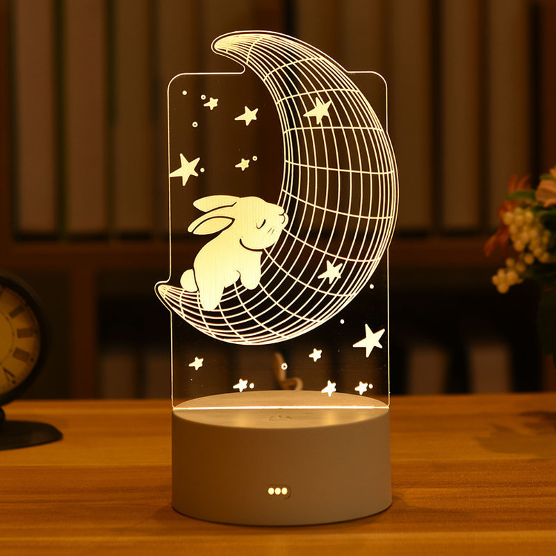 Cute Rabbit Bear Kids Night Light Led Wedding Bedroom Nightlight Decor Light 3d DIY Lamp Valentine's Day Gifts Christmas Gift