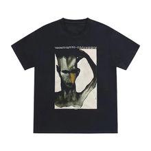 T-shirt de manga curta da marca High Street Tide Camiseta masculina hip hop esquisita camisetas vintage 100% algodão superdimensionado anime encabeça a camiseta masculina