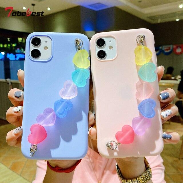 Funda de silicona con correa de TPU para iphone, funda de silicona con arcoíris, Love, para iphone 12 11 Pro XS Max XR X 8 7 6 6S Plus SE 2020