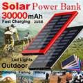 30000mAh Ultra-haute Capacité batterie Portable solaire Portable Chargeur de Recharge Ultra-rapide Batteries Externes avec lampe de poche LED