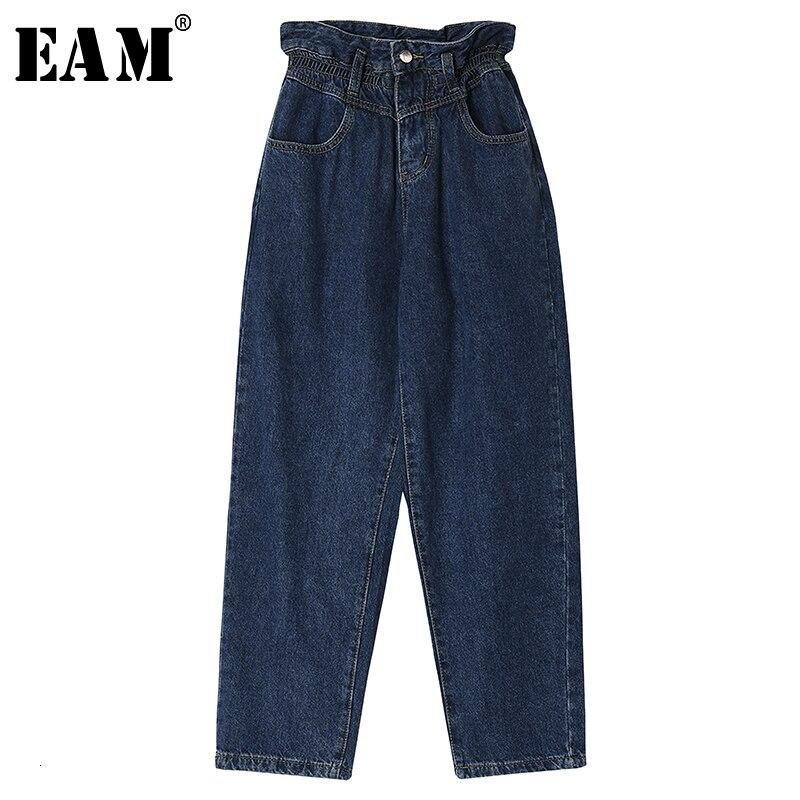 [EAM] Blue Denim Long Leisure Wide Leg Jeans New High Waist Loose Women Trousers Fashion Tide Spring Autumn 2019 19A-a761