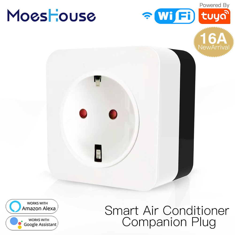 16A WiFi Air Conditioner Wall Plug Socket Outlet Companion IR Remote Controller Smart Life Tuya APP Work With Alexa Google Home