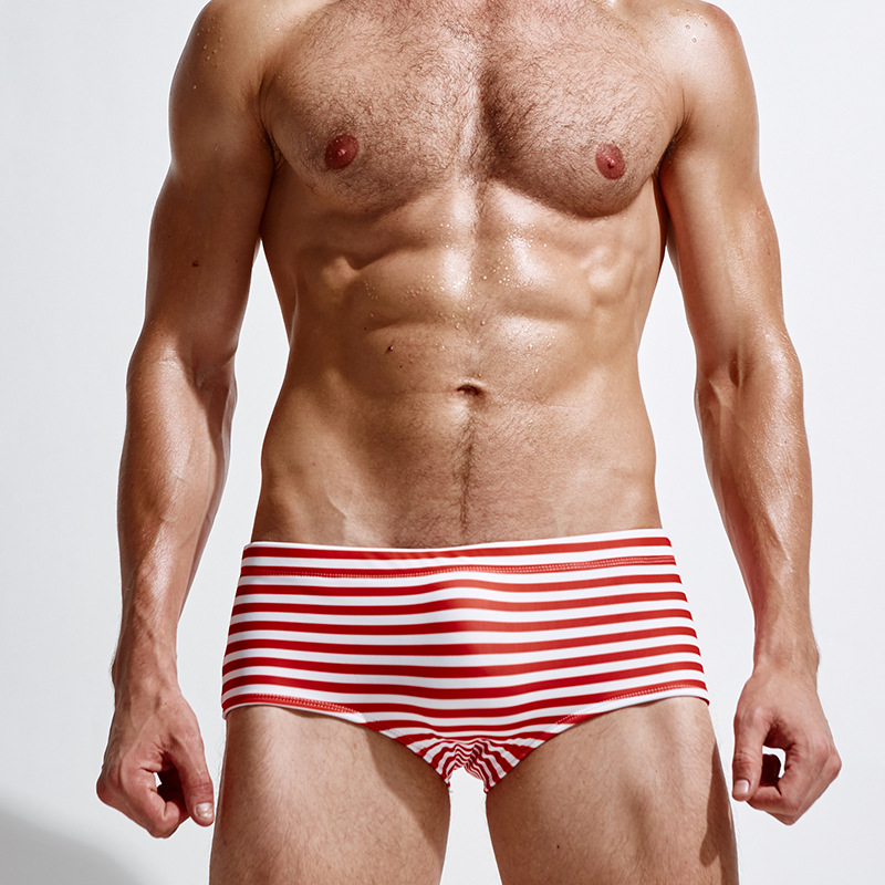 New Style Men Stripes Sexy Small Boxer Slender Chinlon Comfortable Anti-Exposure Men AussieBum Bathing Suit