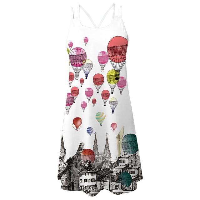 Women'S Summer Short Suspender Dress 3d Printing Sling O-Neck Hollow Out Slim Bottoming Shirt Ladies Dress платье летнее M* 7