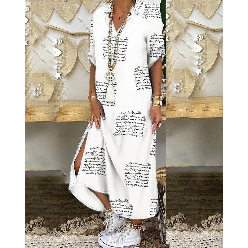 Otoño de las mujeres largo Maxi vestidos étnico africano estilo Sexy V cuello de talla grande largo indio Vestido Mujer elegante tela de fiesta
