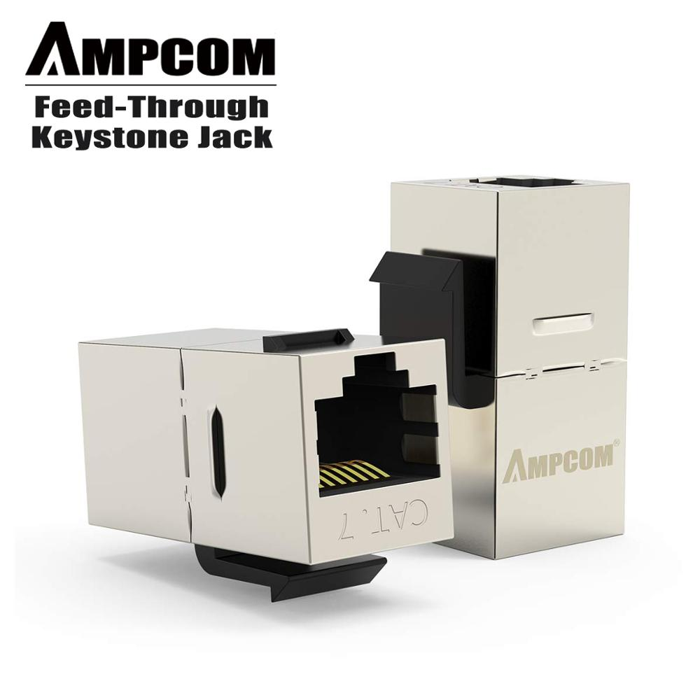 AMPCOM CAT7 Feed-Through Keystone Jack,Sheilded RJ45 Straight-Through Keystone Module Adapter Couplers For Wall Plate