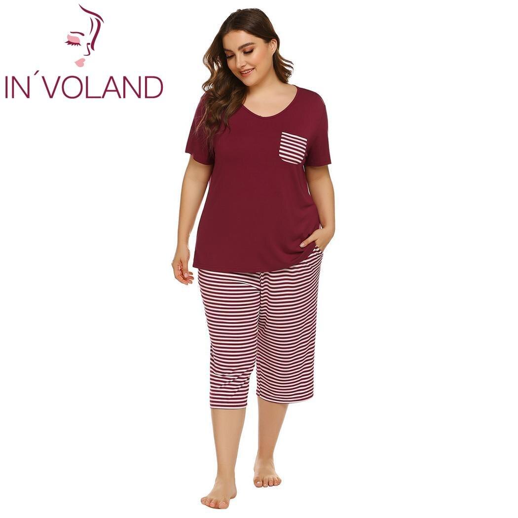 IN'VOLAND Women Sleepwear Set Casual Summer Striped Short Sleeve Tops with Capri Pants Pajama Sets Summer Nightwear