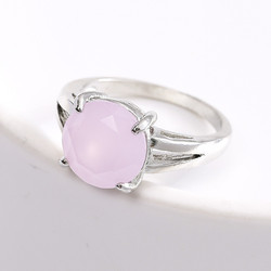Temperament Peach Powder Women's Ring Frosted Crystal Round Jewelry For Party Engagement Accessories Size 6-10